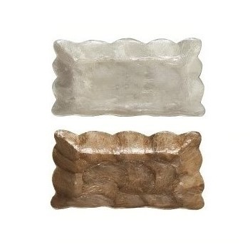 Capiz Mini Rectangular Tray w/Scalloped Edge