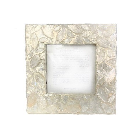 4x4 Capiz Frame - Leaf Design (Natural White)