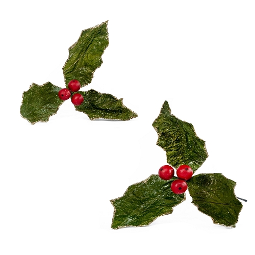 Holly Leaf Pick (Green/Red)